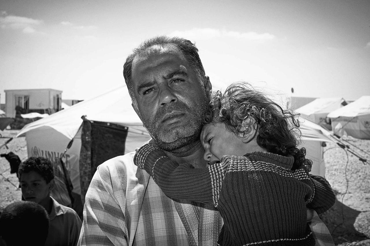 Much of the male reaction in Zaatari is stereotypical, but the guilt, anger, love and kindness of many of the men and youths is a major factor in both the volatility and the stability of the camp. The men are often silent and it is their actions not their words that reveal their emotions.